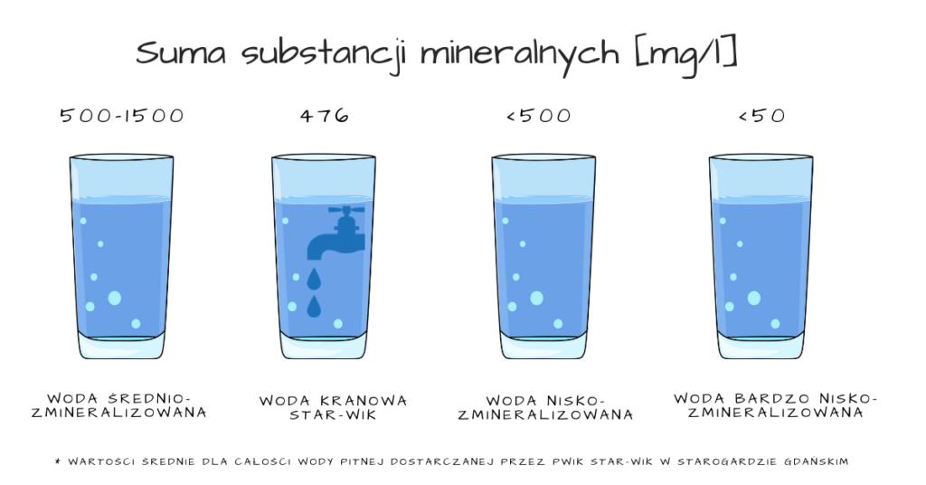 Ilośc składników mineralnych wstarogardzkiej wodzie